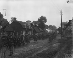 1st Batt Irish Guards marching on arrival in France 13th Aug 1915