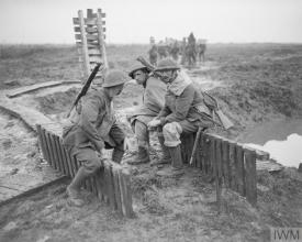 Irish Guards 2nd Battalion resting during the Battle